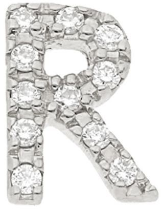 Nephora 14K White Gold & Diamond Initial R Single Stud Earring