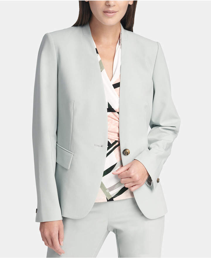 Petite Collarless One-Button Jacket