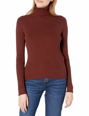 J.o.a. Women's Ribbed Turtleneck Fitted Sweater