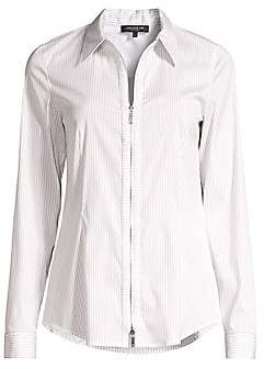 Lafayette 148 New York Women's Connor Pinstripe Zip-Front Shirt