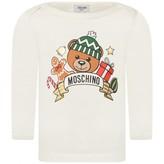 Moschino Girls Ivory Festive Teddy Print Top