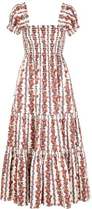 Tory Burch Printed smocked satin-twill midi dress