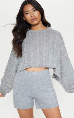 PrettyLittleThing Grey Cable Cropped Knitted Jumper