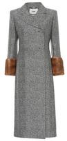 Fendi Mink fur-trimmed wool and silk coat