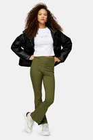 Topshop Womens Petite Skinny Ribbed Flare Trousers - Green