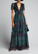 J. Mendel Leaf Applique Button-Back Gown