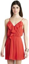BCBGeneration Ruffle Print Pleated Flounce Dress - Red