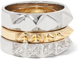 Noir Set of three gold and silver-tone crystal rings