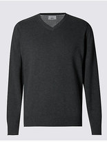 M&S Collection Pure Cotton V-Neck Jumper