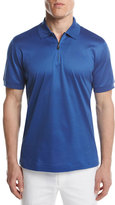 Brioni Cotton Zip Polo Shirt, Royal Blue