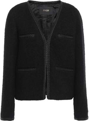 Maje Bead-embellished Grosgrain-trimmed Boucle-tweed Jacket