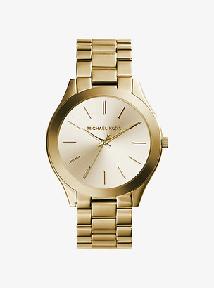 Michael Kors Slim Runway Gold-Tone Stainless Steel Watch - Gold