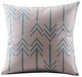 """Cotton Linen Decorative Throw Pillow Case Cushion Cover ( Retro Blue Bold Arrows) 18""""X18"""""""