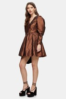 Topshop Gold V Neck Taffeta Mini Dress