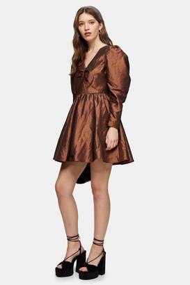 Topshop Gold V Neck Taffeta Mini Dress