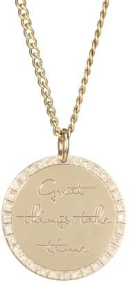 Zoë Chicco Mantra 14K Yellow Gold & Diamond Engraved Circle Pendant Necklace