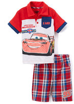 Children's Apparel Network Cars Red Polo & Plaid Shorts - Toddler