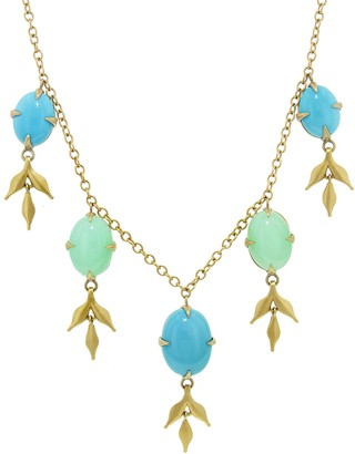 Cathy Waterman Turquoise and Chrysoprase Lyrical Wheat Necklace - Yellow Gold
