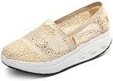 DADAWEN Women's Crochet Classic Slip-on Toning Shoe Walking Sneaker- 6.5 US
