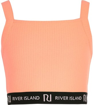 River Island Girls coral RI square neck crop top