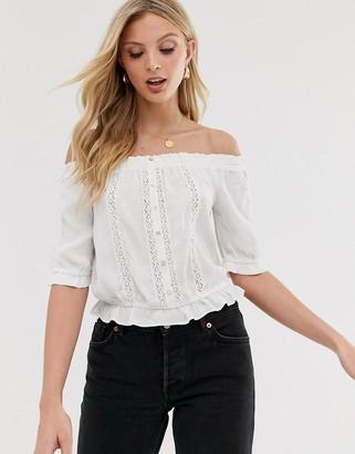 Vero Moda bardot top with crochet insert in white