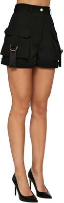 Balmain High Waist Wool Gabardine Cargo Shorts