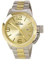 TW Steel CB52 Men's XXL Stainless Canteen Two-Tone Bracelet Band Gold Dial Two-Tone Watch by