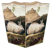 The Well Appointed House White Rabbit Decoupage Wastebasket and Optional Tissue Box