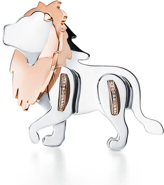 Tiffany & Co. Save the Wild lion brooch in silver and 18k rose gold with diamonds