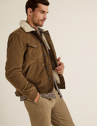 Marks and Spencer Cotton Borg Lined Cord Trucker Jacket