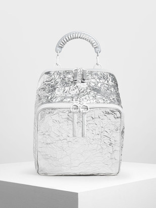 Charles & Keith Rope Handle Wrinkled Effect Patent Backpack