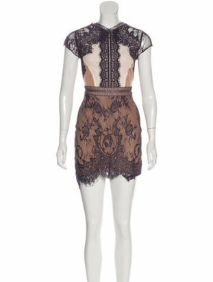 Self-Portrait Lace Pattern Mini Dress Purple