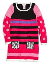 Design History Girls' Sequined-Pocket Mixed Prints Sweater Dress - Little Kid