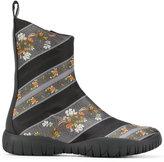 Maison Margiela floral panel boots - women - Cotton/Leather/rubber - 36