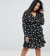 Asos Star Print Ruffle Wrap Mini Dress