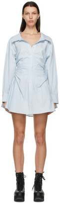 alexanderwang.t Blue Cotton Cinched Shirt Dress