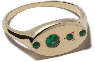 WWAKE 14kt gold emerald Signet ring