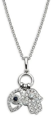 Effy 14K White Gold Diamond Sapphire Evil Eye Hamsa Charm Necklace