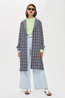 Topshop Crinkle Check Duster Coat