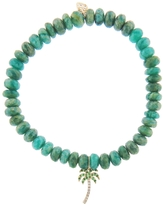 Sydney Evan Palm Tree Charm on Green Amazonite Beaded Bracelet