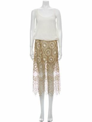 Jay Ahr Colorblock Pattern Knee-Length Dress Gold