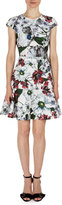Erdem Darlina Cap-Sleeve Floral-Print Dress, White/Red