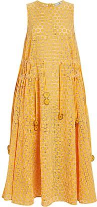 My Beachy Side Cotton Eyelet Midi Dress