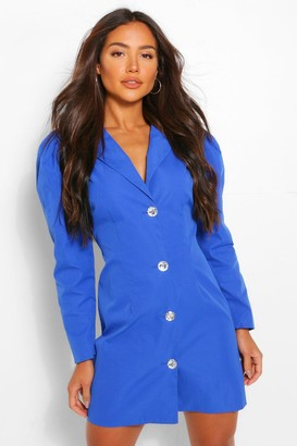boohoo Woven Diamante Puff Sleeve Blazer Dress