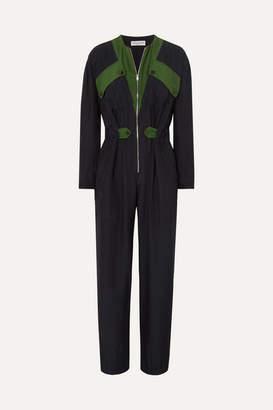 Sonia Rykiel Color-block Silk Jumpsuit - Navy
