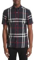 Burberry Men's 'Elfords' Slim Fit Short Sleeve Check Linen & Cotton Sport Shirt