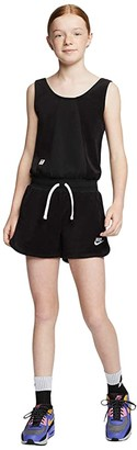 Nike Kids NSW Heritage Romper (Little Kids/Big Kids) (Black/White/White) Girl's Jumpsuit & Rompers One Piece