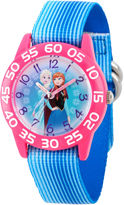 Disney Girls Frozen Elsa And Anna Blue And Pink Time Teacher Strap Watches