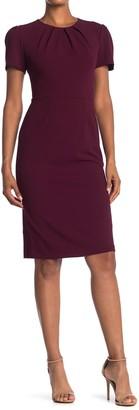 Maggy London Short Sleeve Pleated Neck Dress