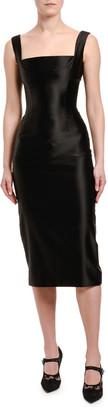 Dolce & Gabbana Stretch Duchesse Satin Square-Neck Dress